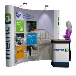 Pop Up Exhibition Stand : Pop up curved exhibition stand reflex exhibitions