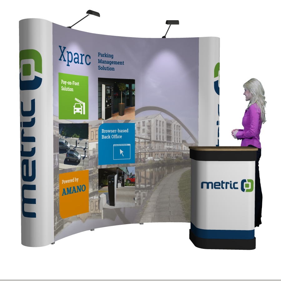 Exhibition Stand Kits : Pop up curved exhibition stand reflex exhibitions
